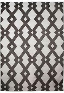 Tapete Geometric Retangular Poliéster (240X330) Branco E Preto
