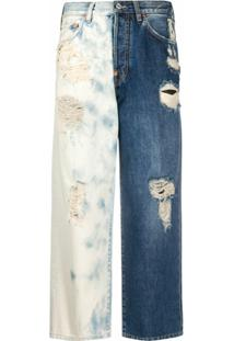 Givenchy Calça Jeans Cropped Bicolor - Azul