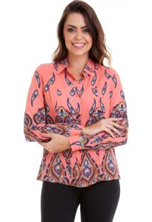 Camisa Kinara Manga Longa Viscose Estampada Rosa