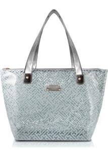 Bolsa Shopper Transparente Jacki Design Diamantes Cinza Claro - Tricae