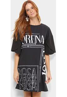 Camiseta Morena Rosa Dress Silk Estampada Feminina - Feminino-Preto