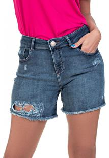 Bermuda Jeans Tipo Moletom Bloom Boyfriend Com Elastano Azul