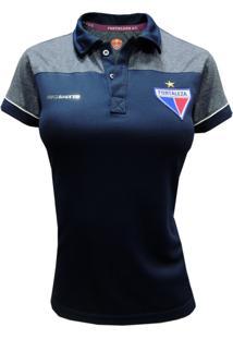 Camisa Escudetto Baby Look Feminina Polo Fortaleza Azul Marinho Escudo Bordado