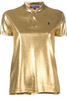 Ralph Lauren Collection Silk Lamé Polo Top - Dourado