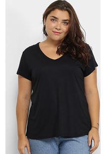 Blusa Lecimar Básica Plus Size Feminina - Feminino-Preto