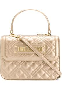 Love Moschino Quilted Top-Handle Box Bag - Dourado