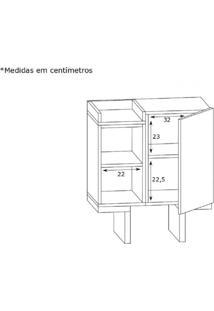 Gabinete Para Banheiro 1 Porta Bacco Estilare Móveis Preto/Madeirado