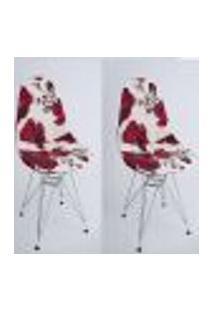 Kit Com 02 Capas Para Cadeira Charles Eames Eiffel Wood Flores Vermelhas Com Branco