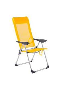 Cadeira De Praia Piscina Alumínio 5 Posições Bel - Azul Amarelo