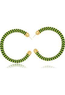 Brinco Argola Le Diamond Tecido - Feminino-Verde
