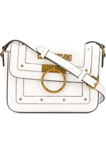 Love Moschino Stud Detail Logo Plaque Satchel Bag - Branco