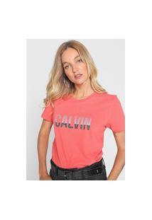 Camiseta Calvin Klein Jeans Logo Stripes Coral