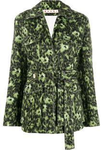Marni Jaqueta Com Estampa De Folhas - Verde