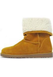 Bota Damannu Shoes Forrada Pelos Feminina - Feminino-Mostarda