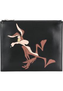 Calvin Klein 205W39Nyc Clutch 'Looney Tunes' De Couro - Preto