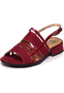 Sandalia Vermelha Com Salto Baixo Em Couro - Marsala / Amora 7736