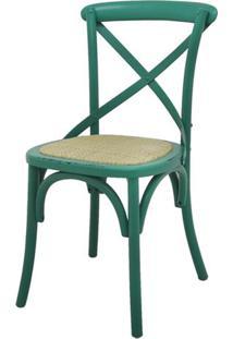 Cadeira Katrina Madeira Assento Em Rattan Cor Verde - 55474 - Sun House