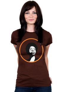 Camiseta Baby Look Hshop Nina Simone Marrom