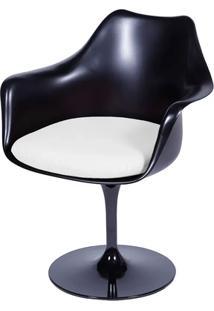 Cadeira Saarinen Tulipa Preta Com Braço Assento Branco