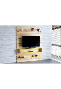 Painel Tv Quarto Standby - Home Suspenso Para Tv Até 60 Polegadas Com Rack Natural E Amarelo - 135X23X172 Cm