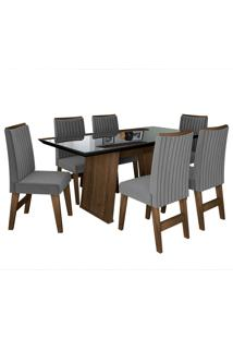 Conjunto De Mesa Para Sala De Jantar Com Tampo De Vidro E 6 Cadeiras Vigo -Dobuê Movelaria - Castanho / Preto / Grafite Bord