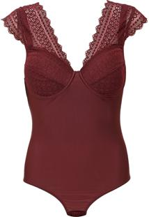 Body Calvin Klein Underwear Recortes Renda Vinho
