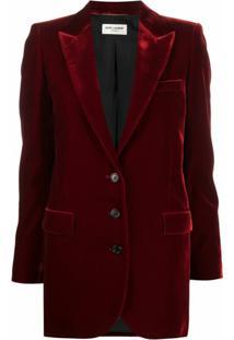 Saint Laurent Blazer Com Abotoamento Simples - Vermelho
