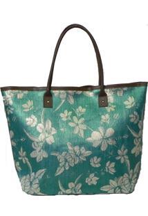 Bolsa Poquet Palha Floral Verde