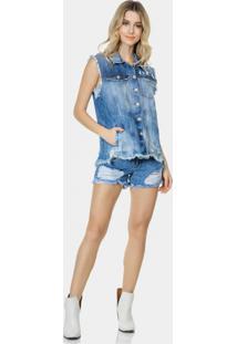 Colete Jeans Oversized Destroyed Jeans - Lez A Lez