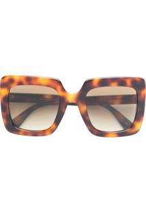 ... Gucci Eyewear Óculos De Sol Oversized Quadrado - Marrom 7b741bb008