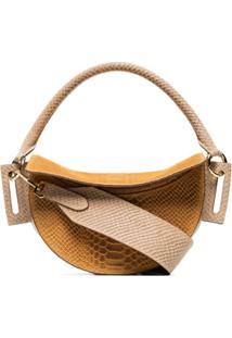 Yuzefi Snake-Effect Leather Shoulder Bag - Laranja