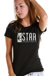 Camiseta Bandup Geek Dc Comics The Flash Serie Star Laboratories Preto