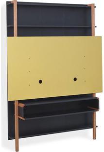Painel Para Tv 60 Pol Estante Rack Karl - Preto Com Amarelo