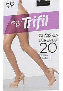 Meia Calça Trifil Fio 20 Europeu Feminina - Feminino-Preto