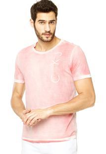 Camiseta Calvin Klein Jeans Reta Rosa