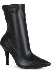 Ankle Boots Feminina Salto Fino Stretch Preto Preto