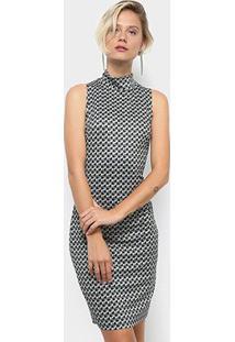 Vestido Morena Rosa Tubinho Curto Estampado Com Gola Alta - Feminino-Preto+Azul