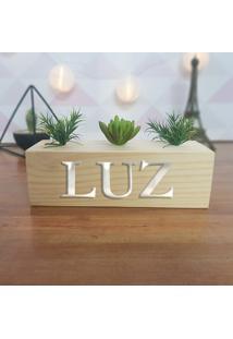 Cubo Decorativo Com Suculenta E Letras Em Acrílico Luz
