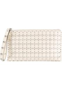 Red Valentino Clutch Floral De Couro - Neutro
