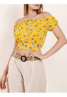 Blusa Malha Ciganinha Autentique Feminina Amarelo