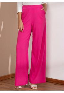 Calça Pantalona Pink Com Bolsos