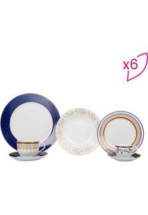 Aparelho De Jantar Royalty Em Porcelana- Branco & Douradfull Fit