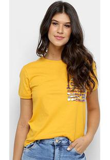 Blusa Cativa Aplique Manga Curta Feminina - Feminino-Amarelo