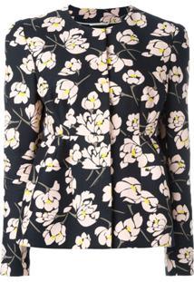Rochas Jaqueta Floral Com Bainha Peplum - Preto