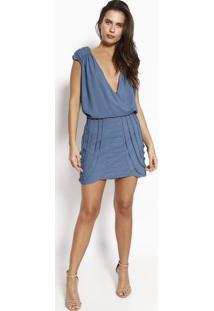 Vestido Com Pregas & Tiras- Azulbobstore