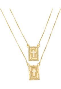 e06385a8a93f7 Zattini. Escapulário Folheado A Ouro Dourado Diamantado 18k ...