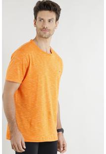 Camiseta Masculina Esportiva Ace Com Recorte Manga Curta Gola Careca Laranja