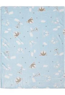 Cobertor Raposinha- Azul & Branco- 85X110Cm- Pappapi
