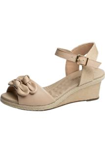 Sandália Anabela Laço Doctor Shoes Bege