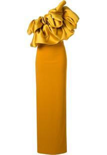 Solace London Vestido Longo Ombro Único - Amarelo